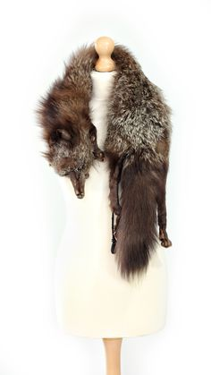 Vintage 1930's/1940's taxidermy silver fox real fur stole/collar/wrap with black,grey and white tones. Perfect Game of thrones costume