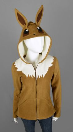 ⌠ eevee hoodie ⌡  This is a brown and cream fleece hoodie thats been modeled after the pokemon Eevee from the popular video game and cartoon. Its