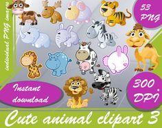 Cute animal clipart 3 clipart animals   Digital 300 DPI PNG