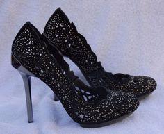 BCBG Peacock Black Suede High Heel Shoes Pump Rhinestones Scalloped Edges Sz 8 #BCBGMAXAZRIA #PumpsClassics #SpecialOccasion