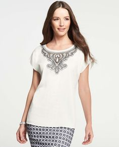 Embroidered Flutter Sleeve Top - Delicately detailed with breathtaking embroidery at the neckline, this perfectly pretty style makes a positively charming summertime statement. Flutter Sleeve Top, Professional Outfits, Outfit Posts, Tunic Tops, Couture, My Style, Lady, Pretty, Casual