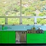 GREEN ACID COLOR FOR KITCHEN - The above on the left is a kitchen that was designed by Bruce Bolander Architect. The combination of acid green and baby blue colors blends well in this one.