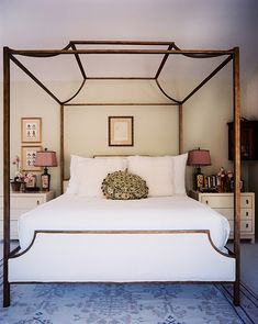 Canopy Bed with white linens, via Lonny