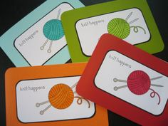 Knit Happens Notecards Gift for Knitter by apaperaffaire on Etsy, $6.25