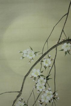 Japanese art: Flowering branches and the full moon