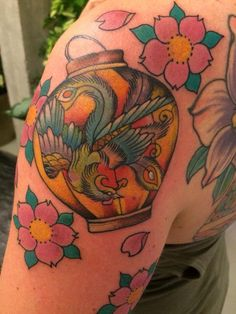 Lantern with phoenix and flowers japanese tattoo