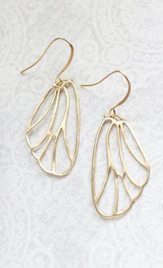 Gold Wing Earrings Filigree Earrings Modern Lightweight Dangle Boho Chic Gold Bridal Jewelry Bird Angel Butterfly Faerie Fairy Gift for Her Bird Jewelry, Rose Gold Jewelry, Jewelry Sets, Jewelery, Jewelry Accessories, Jewelry Making, Filigree Earrings, Wing Earrings, Dangle Earrings