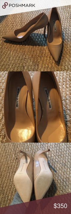 """Manolo Blahnik """"BB"""" nude pumps Nude leather pumps with pointed toe! 4 inch stiletto heel. Made in Italy. Never been worn! Size 37 Manolo Blahnik Shoes Heels"""