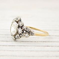 I am in LOVE with this ring. Image of .52 Carat Oval Cut Diamond Antique Gold Victorian