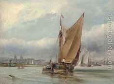 Barges on Greenwich Reach by George Chambers