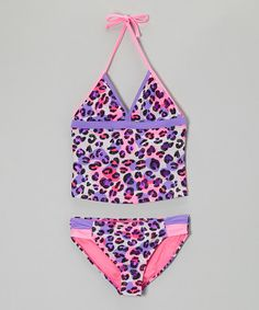 Loving this Purple & Pink Kitty Cat Tankini - Girls on #zulily! #zulilyfinds