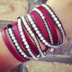 leather + pearls | www.busywrist.com #bracelets #busywrist #pearls