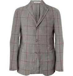 BoglioliUnstructured Prince of Wales Check Linen Blazer