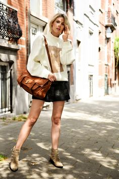 I'm wearing:  Acne sweater  3.1 Phillip Lim shorts Proenza Schouler bag  Toga Pulla boots ( all available at Smets)