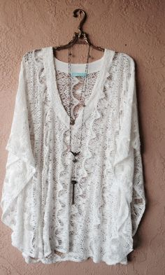 White crochet Melissa Odabash kaftan with cape sleeves