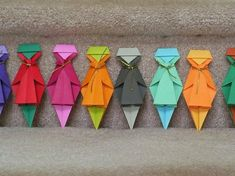 RainBow Girls - 6 Origami Paper Dolls via Etsy