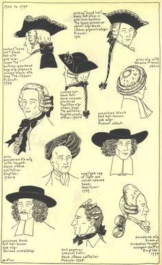 18th Century Men's Hats and Wigs from the Village Hat Shop Gallery. Set I, 1700-1795