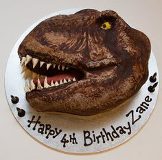 Dinosaur Head Interracial Species Chocolate Cake With Chocolate Ganache And Fondant Dinosaur head (interracial species;) chocolate cake...