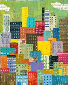abstract skyline, abstract cityscape, 8x10 PRINT new york city, NYC   by Elizabeth Rosen