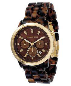 Michael Kors Chronograph Stainless Steel and Tortoise Acrylic Bracelet Watch 44mm MK5216
