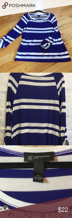 INC blue and white knot top INC blue and white knit top, diamond embellishments around neck, soft material, sleeves can be worn long or 3/4 length with tabs attached.  See pictures of tabs on sleeves, never worn, new without tags, excellent condition I-N-C Tops Blouses