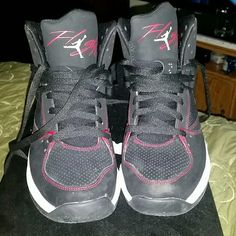 Jordan Flight 45 High Max These shoes have been worn once still looks new!   BE AWARE THIS IS IN MEN SIZE!  Color: Black/Gym Red- White Size -8 Buy Now Jordan Shoes Sneakers