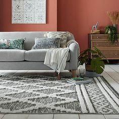 Ezra Rug   Dunelm Rugs In Living Room, Living Spaces, Room Rugs, Circle Rug, Edwardian House, Black Rug, Geometric Rug, Spare Room, Indoor Outdoor Rugs