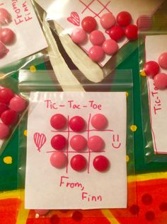 Valentine's Day card for school - Pink and Red Smarties Tic Tac Toe.