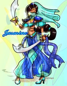 This is Princess Jasmine from Disney. She is another warrior princess. Disney Princess Warriors, Disney Princess Jasmine, Disney Princess Art, Warrior Princess, Disney Fan Art, Disney Style, Disney Love, Princess Belle, Princesa Jasmine