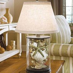 Shell- filled glass lamp!