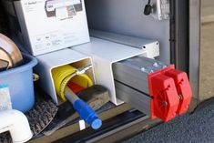 Square vinyl for storage of sewer hose, etc. NOTE: There are several other RV storage ideas included in this post.