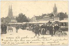 Eindhoven, een serie van 3 prentbriefkaarten betreffende de weekmarkt 1895-1910