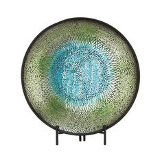 42145 Adorable Metal Mosaic Blue Platter With Easel