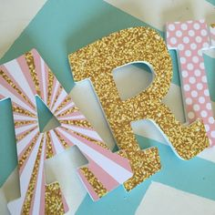 Custom Decorated Wooden Letters - Minnie Mouse - Pink and Gold - Wood Letters Wood Letters Decorated, Painting Wooden Letters, Painted Letters, Decorative Wooden Letters, Wooden Wall Letters, Glitter Letters, Diy Letters, Letter A Crafts, Bricolage