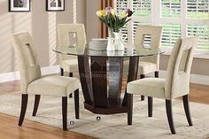 Furniture of america CM3625T-5PC 5 pc west palm espresso finish wood 54  round glass top dining table set & Decorative Dining Room Transitional Design Ideas For French Round ...