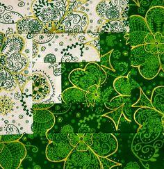 {16} Log Cabin Quilt Blocks ~Irish Mist ~ St. Patrick's Day ~ Machine Sewn
