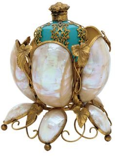 A Napoleon III Ormolu, Shell and Turquoise-Painted Glass Etui. Third Quarter 19th Century, Later Over-Painted