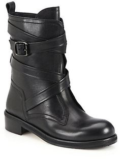 Jimmy Choo Dalston Wrapped Leather Moto Boots