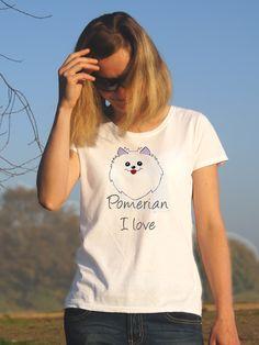 T-shirt ręcznie malowany z wizerunkiem psa rasy Pomerian  z napisem jaki tylko chcesz.
