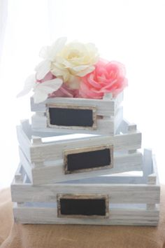 Shabby Chic Rustic Wedding Decor Crates SET OF by IslaGreyDesigns