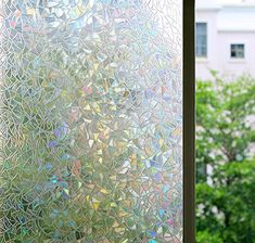 Bloss Decorative Window Films Rainbow Effect Privacy Window Clings Non-Adhesive 3D Window Covering Film for Glass, Door, Window 17'' By 78.7'' *** More info could be found at the image url. (This is an affiliate link) #KitchenCabinetsMakeover