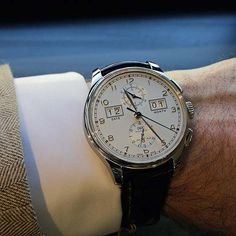 """The @iwcwatches Portugieser Perpetual Calendar Digital Date-Month Edition """"75th Anniversary"""" shown on the wrist; available in limited numbers in either platinum or 18k rose gold with a black alligator leather strap made by Santoni. #iwcwatches #watchtime #luxurywatch"""