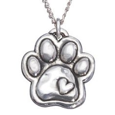Sterling Puffy Heart Paw Necklace