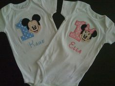 Mickey and Minnie Twins Baby Birthday Onesies