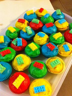 Lego topped cupcakes