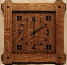 would love this giant size on a rough hewn wall; mission style quartersawn oak clock.