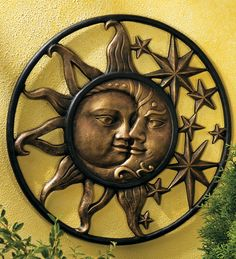 Handcrafted Weather-Sturdy Aluminum Sun & Moon Face Wall Sculpture by Wind & Weather® 20 inches Sun Moon Stars, Sun And Stars, Metal Garden Art, Metal Art, Ying Y Yang, Yard Sculptures, Moon Decor, Outdoor Wall Art, Moon Face