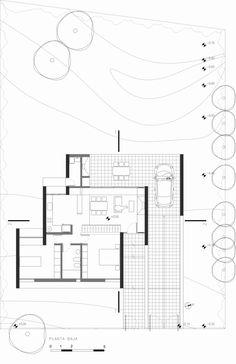 Gallery of House in Carlos Paz / 226 arquitectos – 20 - Plantation Tutorial and Ideas Floor Plan Sketch, Floor Plan Drawing, Floor Layout, Modern House Plans, House Floor Plans, Architecture Drawing Plan, Architectural Floor Plans, Modern Villa Design, Weekend House