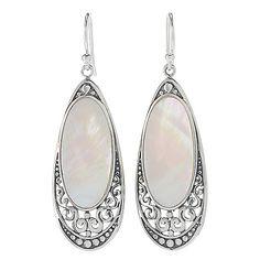 """Artisan Silver by Samuel B. 2"""" 24 x 12mm Oval Gemstone Drop Earrings"""