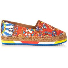 a1af1604fae Dolce   Gabbana Carretto-print flatform espadrilles ( 500) ❤ liked on  Polyvore featuring shoes